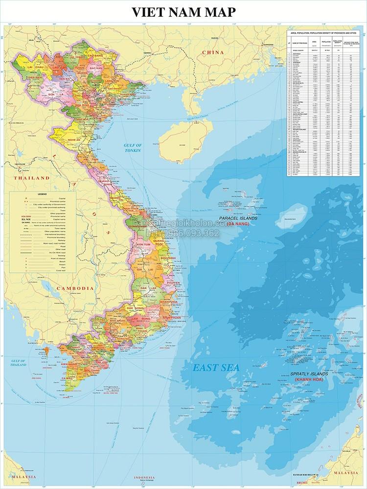 Bản đồ Việt Nam khổ lớn mẫu 7