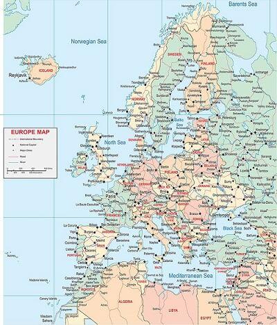 Bản đồ Châu Âu khổ lớn