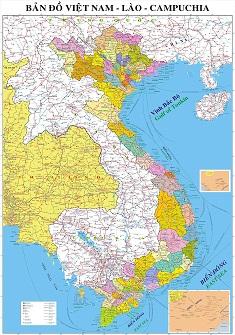 Bản đồ Việt Nam - Lào - Campuchia khổ lớn