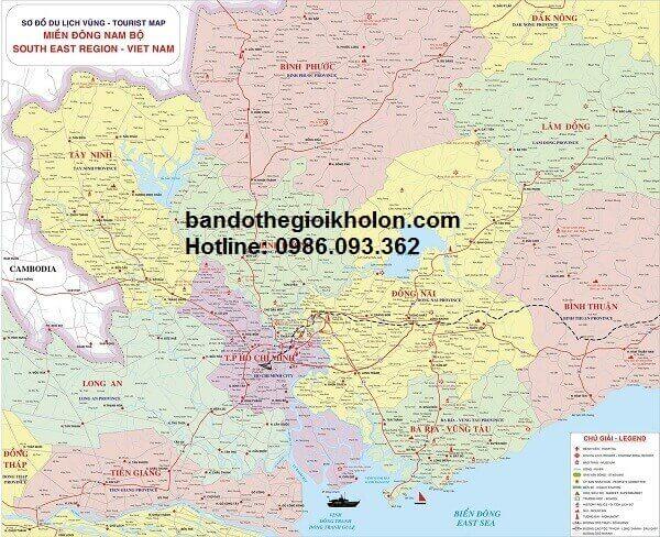 Bản đồ hành chính Đông Nam Bộ khổ lớn
