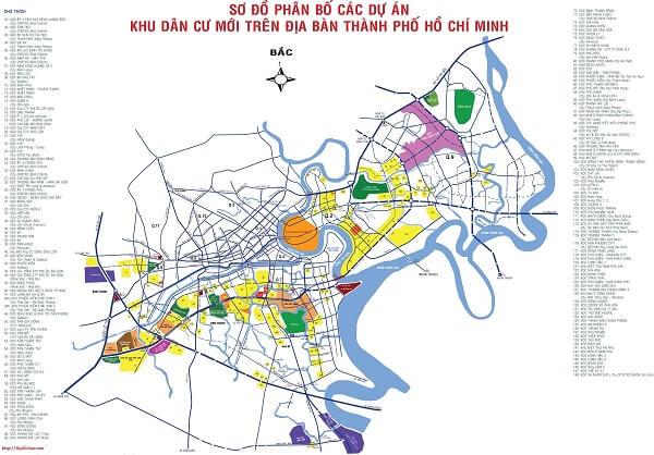 Bản đồ phân bố các dự án trên địa bàn thành phố Hồ Chí Minh