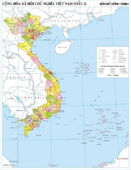 Hình ảnh bản đồ địa giới hành chính Việt Nam mẫu số 2