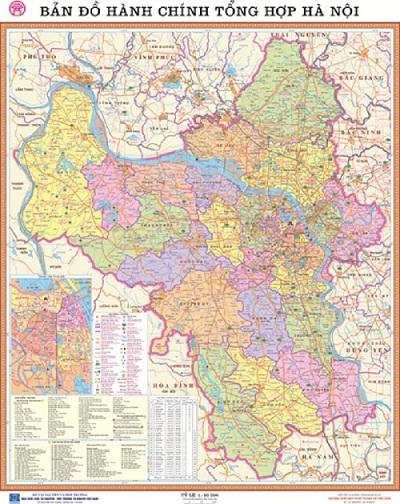 Bản đồ phân giới hành chính Hà Nội mới nhất