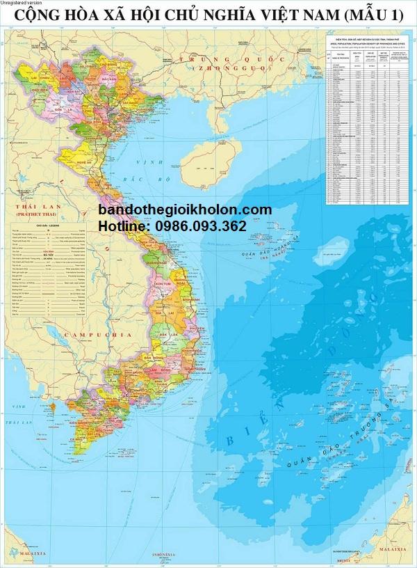 Bán bản đồ Việt Nam Tiếng Trung