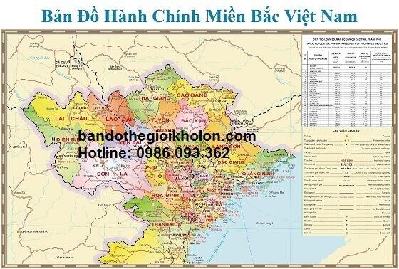 bán bản đồ miền bắc Việt Nam khổ lớn