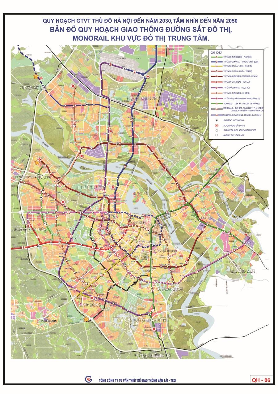 Bản đồ quy hoạch tàu điện Metro Hà Nội