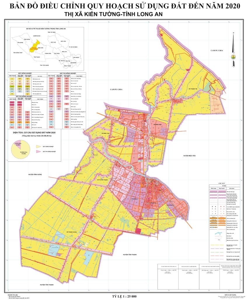 Bản đồ quy hoạch thị xã Kiến Tường tỉnh Long An
